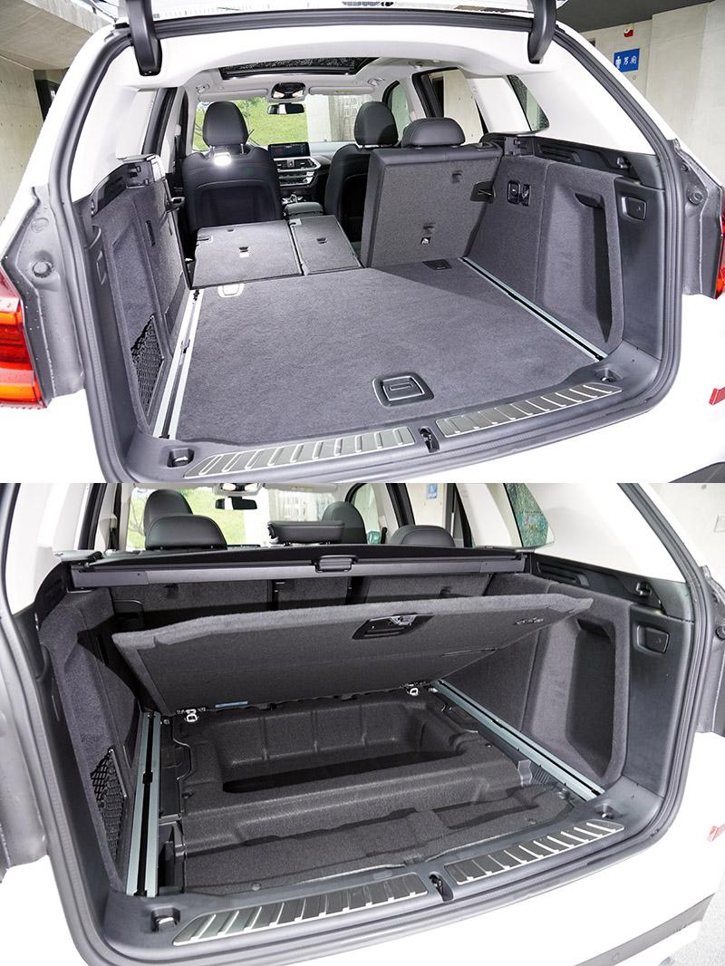 X3 xDrive30i的行李廂空間較為方正,要堆疊物品會比較便利,同時底板下空間也較深。