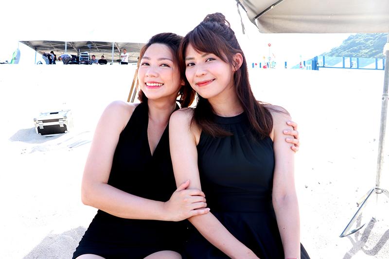 《天之驕女》演員林萱瑜(右起)、曾智希拍攝至今最印象深刻的就是海中游泳。