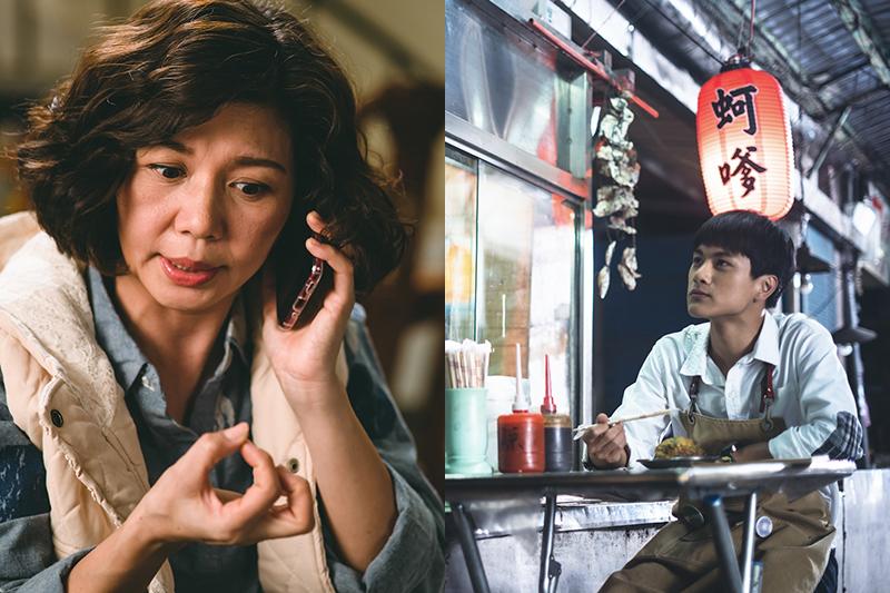 于子育(左起)、李冠毅拍《老姑婆的古董老菜單》為「蚵嗲」吃苦頭。