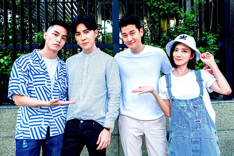 《我的青春沒在怕》演員(左起)徐謀俊、唐禹哲、客串歌手周興哲、蔡黃汝。