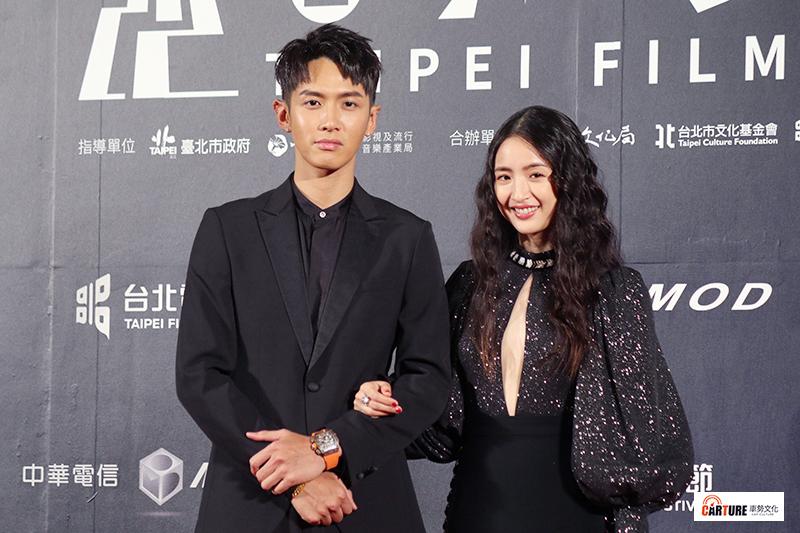 柯震東(左起)、林依晨出席2020台北電影節。