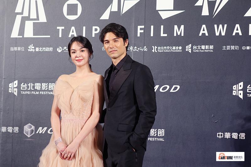 張榕容(左起)、鳳小岳出席2020台北電影節。