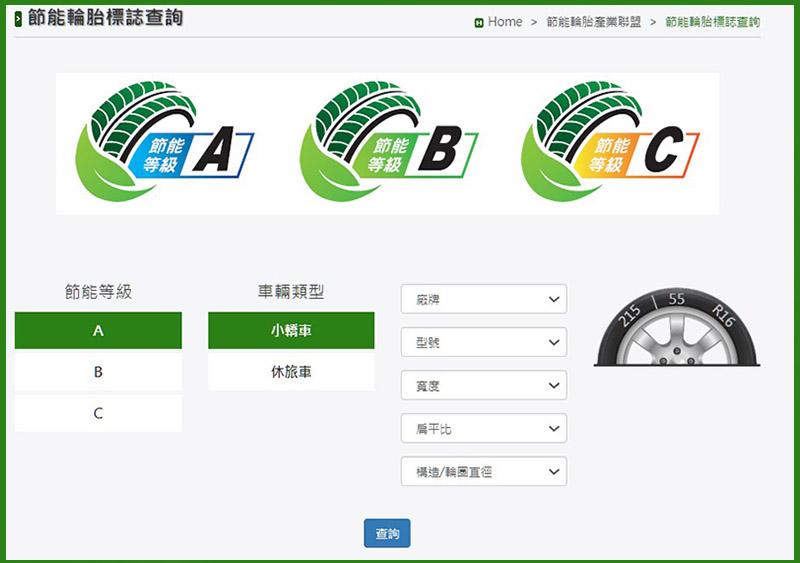 上網搜尋「節能輪胎標誌」,即可獲得已申請節能標誌的輪胎廠牌資訊。
