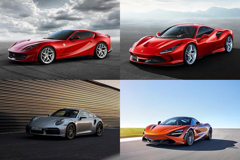 自左上的Ferrari 812 Superfast開始,順時鐘排列的Ferrari F8 Tributo、McLaren 720S到Porsche 911 Turbo S,每一款的性能都比Mercedes-AMG GT Black Series來得強、價格更低。
