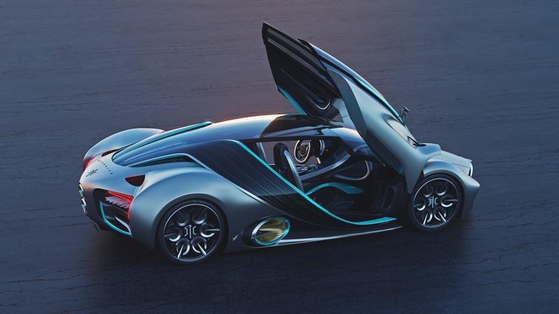 上掀車門與誇張空力套件與造型,符合超跑一切條件,但整體造型設計好熟悉阿。