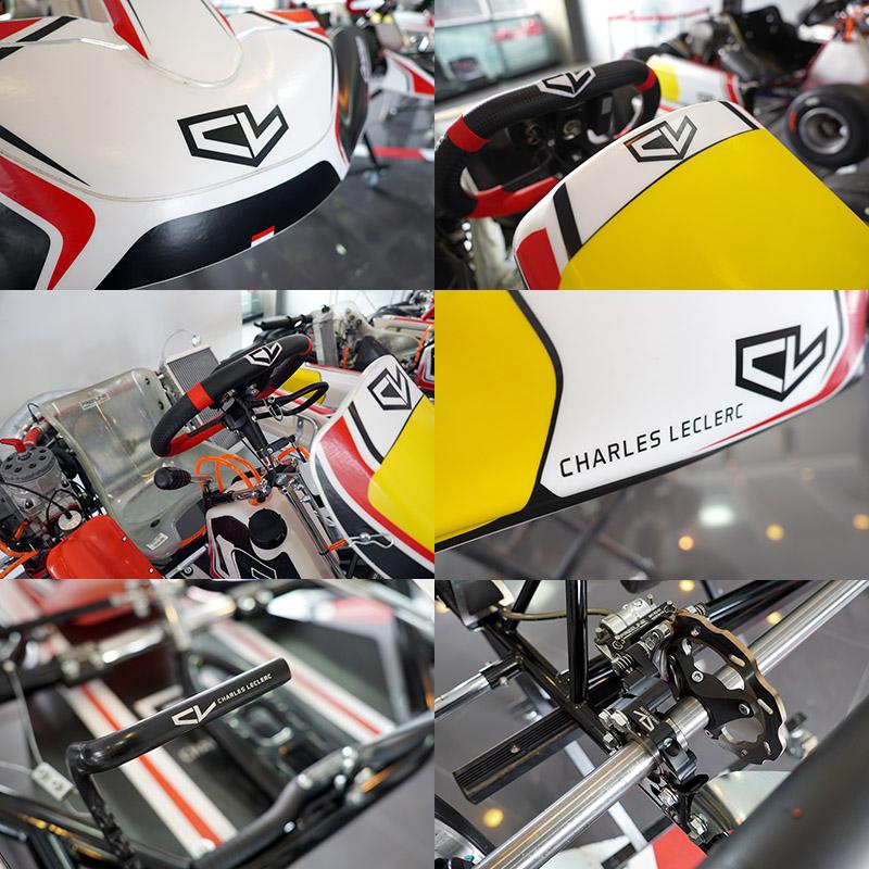 的Birel ART Charles Leclerc系列車架擁有Charles Leclerc專屬的「CL」徽飾與彩繪,並在許多部品上都可以看到CL Charles Leclerc字樣。