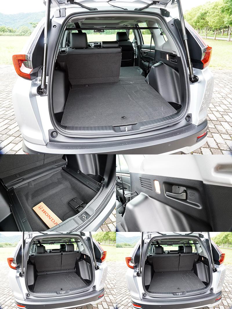行李廂底板具有兩段高度可調整,後座椅背可由側邊拉柄放倒,另在底板下方原備胎空間改為置物空間。