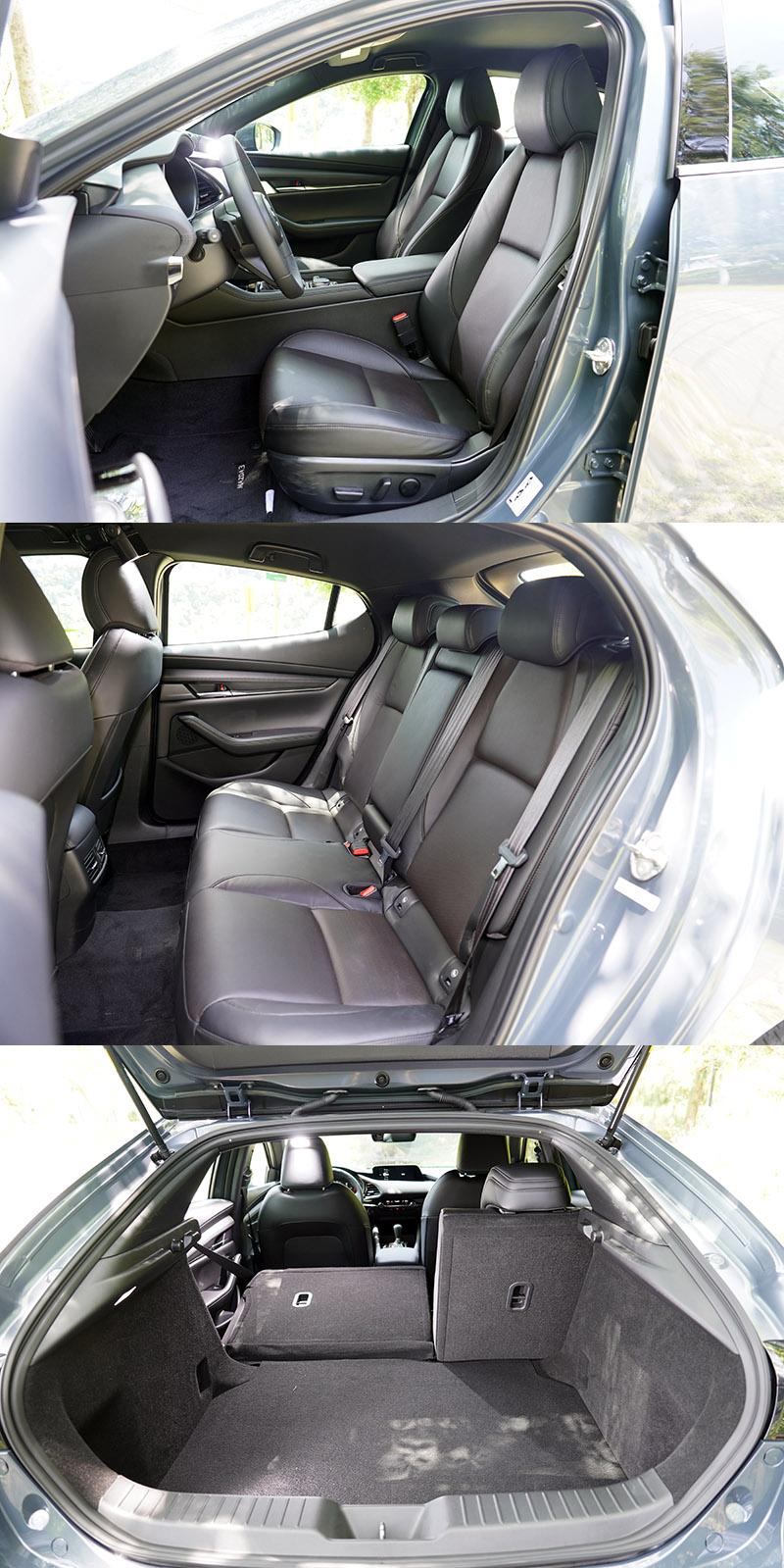 Mazda 3的空間表現受到造型影響,實際表現其實優於視覺感受,與Focus在伯仲之間,唯獨後座頭部空間受制圓滑車頂與粗壯C柱,壓迫感的確頗重。