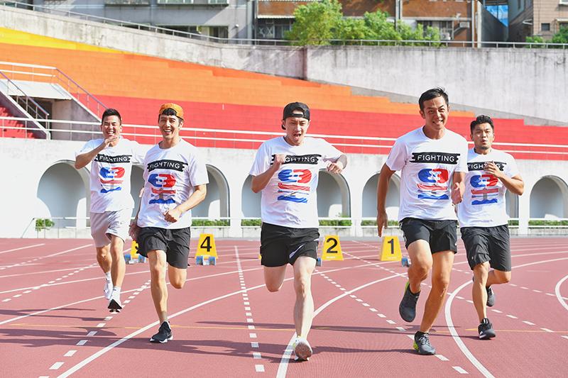 全新運動實境節目《全明星運動會》固定班底(左起)柯有倫、胡宇威、陳漢典、姚元浩、李玖哲。