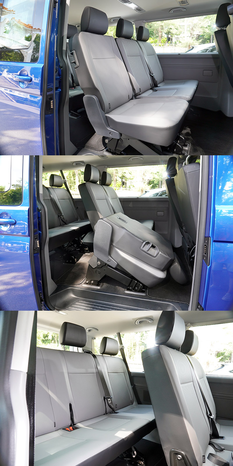 本次試駕的是3 / 3 / 3三排座位安排的Caravelle 199 L車型,後兩排座椅都採固定式設計,只有椅背向前翻倒功能,無法後傾,提供基本的人員運載機能。
