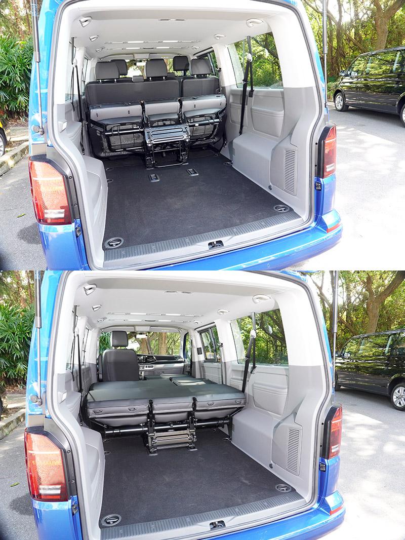 運載空間可藉由椅背翻倒、向前翻起或拆卸來做調整變化。