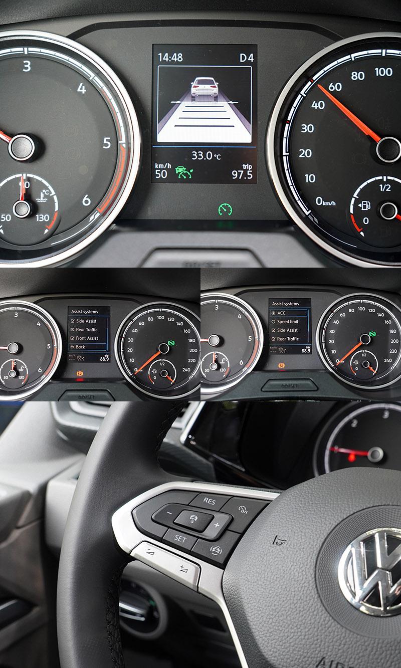 T6.1首次搭載全速域ACC主動式車距調節巡航系統,新增STOP & GO的功能,起步跟車更便利。