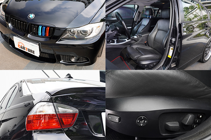 李唯楓喜歡BMW原本的腎形水箱護罩(左上)及後尾燈(左下),這輛美規車型選配了當時相對罕見的電動側腰靠功能(右上、右下)。