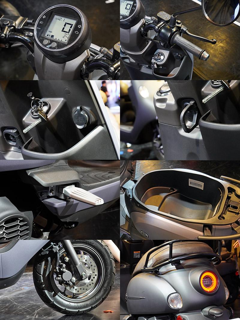 當前速克達常見的USB連接埠、掛勾、液晶螢幕、前碟煞等配備在Vinoora車系上也都為標準配備。