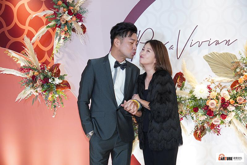 【車勢星聞】謝承均(左起)、六月出席藝人潘逸安台北婚宴。
