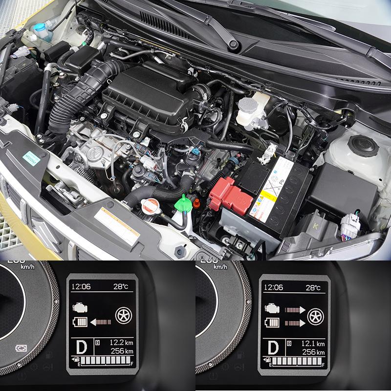小改Ignis動力系統由一具1.2升DUALJET輕量化引擎結合ISG(Integrated Starter Generator)整合式啟動馬達發電機與鋰離子電池組而來,在鋰電池組電力充足時,車輛全力衝刺電動馬達會供應動力輔助,當車輛減速時則會將動能傳換成電能替電池充電。