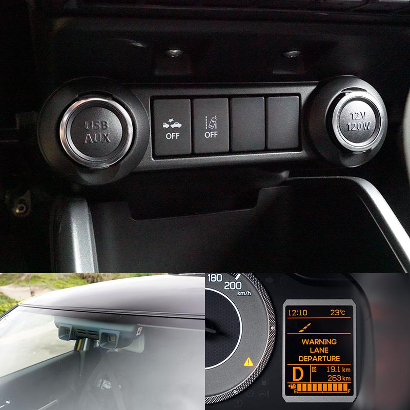 Suzuki Safety Support安全科技,透過雙鏡頭感知器,偵測前車與行人距離,以及車輛動態,當與前方車輛與行人過近,以及車輛偏移都會發出警示提醒駕駛者。