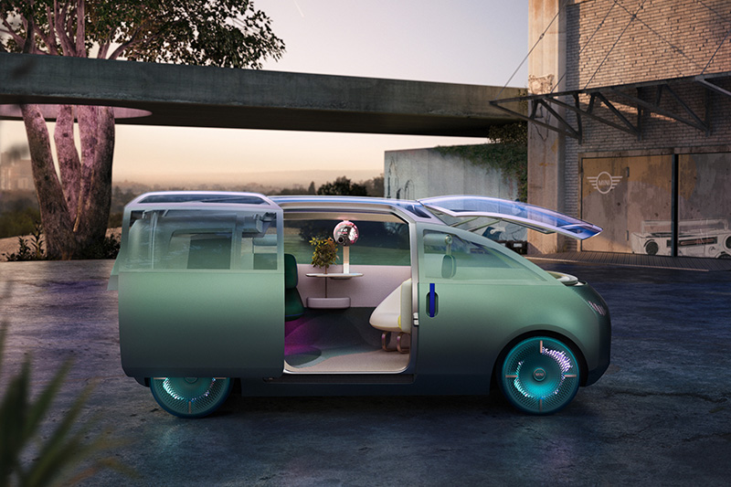 前擋風玻璃上掀後,Mini Vision Urbanaut根本化身街頭自有行動咖啡聽。