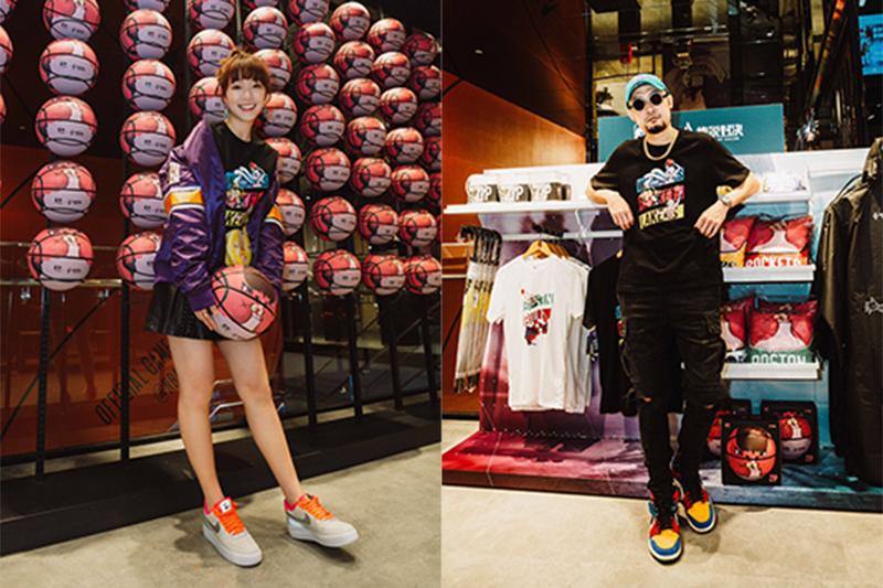 【車勢星聞】《NBA Store Taiwan》聯袂手遊《Garena傳說對決》推聯名商品,發表會當天邀請到MC HotDog熱狗(右起)、泱泱站台 。(圖:品牌提供)
