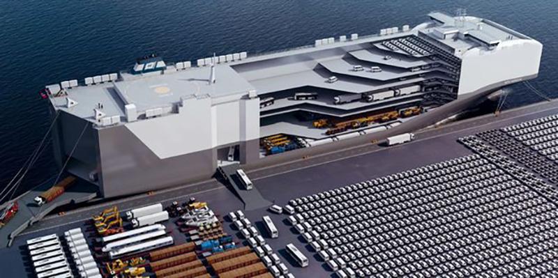 長方形盒子般輪廓、多層式甲板與巨大的弓形門,都是用來大量裝載汽車PCC的必要設計。