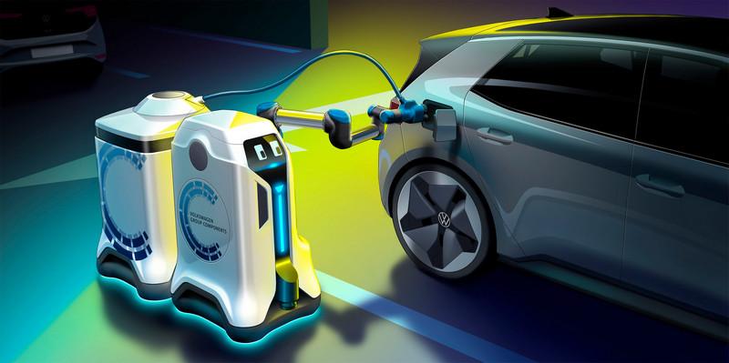 Volkswagen充電機器人會自行替車輛進行充電。