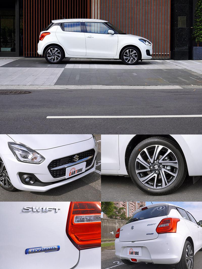 小改款Swift外觀部分僅改變了水箱護罩的細部設計,採六角格柵式樣搭配置中的鍍鉻飾條,以及換上新的輪圈樣式,並在車尾加上了Hybrid銘牌。