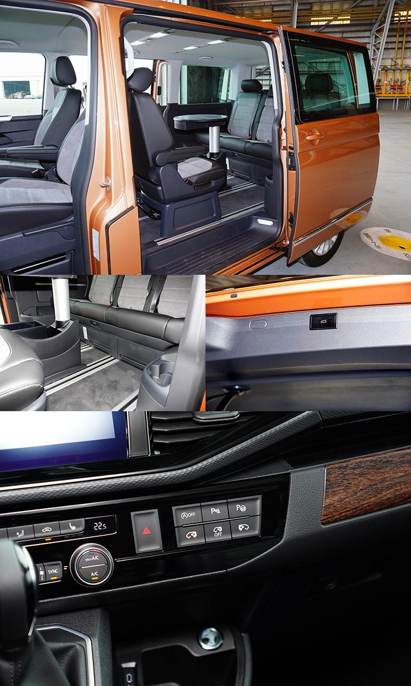 T6.1 Multivan最具代表性的無段調整滑軌,二、三排座椅無須椅背傾倒即可前後滑移,搭配全車系標配的電動尾門與電動側滑門,滿足商務、生活多面向甚至多代同堂的大家庭外出或裝載需求。