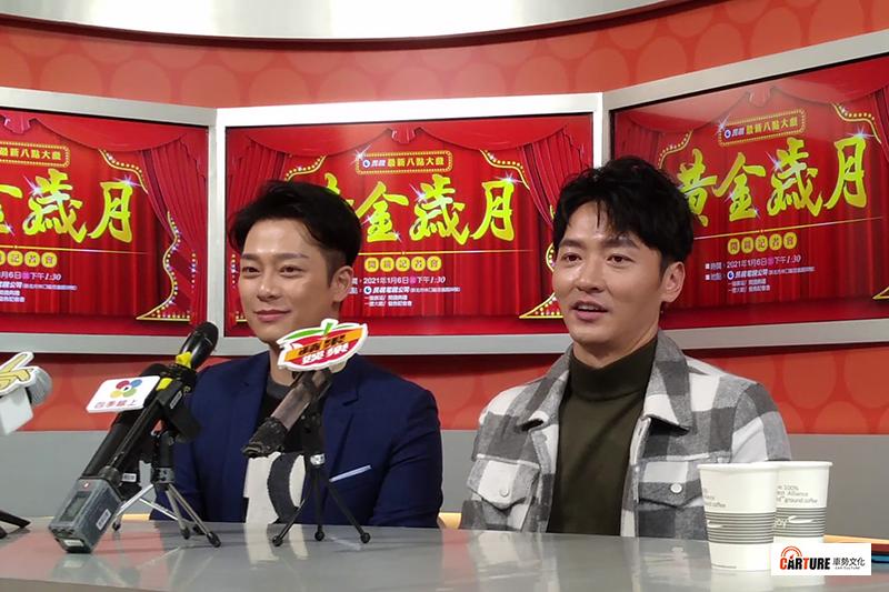 【車勢星聞】民視新戲《黃金歲月》開鏡舉辦記者會,演員林則希(左起)於後台訪問時當眾向馬俊麟邀畫。