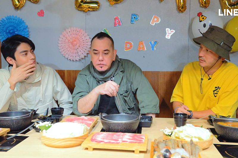 【車勢星聞】《開著餐車交朋友》宋柏緯(左起)、黃秋生、KID在餐廳首度碰面。(圖:Line TV提供)