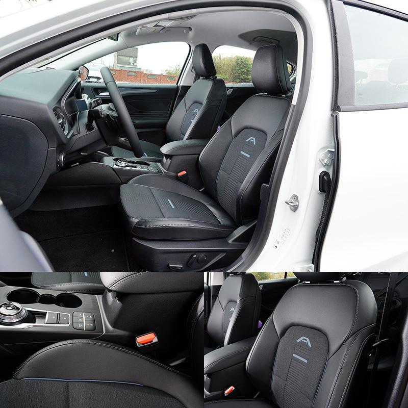 Focus Active換上了皮質與織布相搭的雙材質座椅,並以藍色縫線設計,以及在椅背上增加「A」字彩繪,同時,中控台飾板與車門飾板也改採藍色類碳纖式樣,展現出與其他車型不同的活潑氛圍。