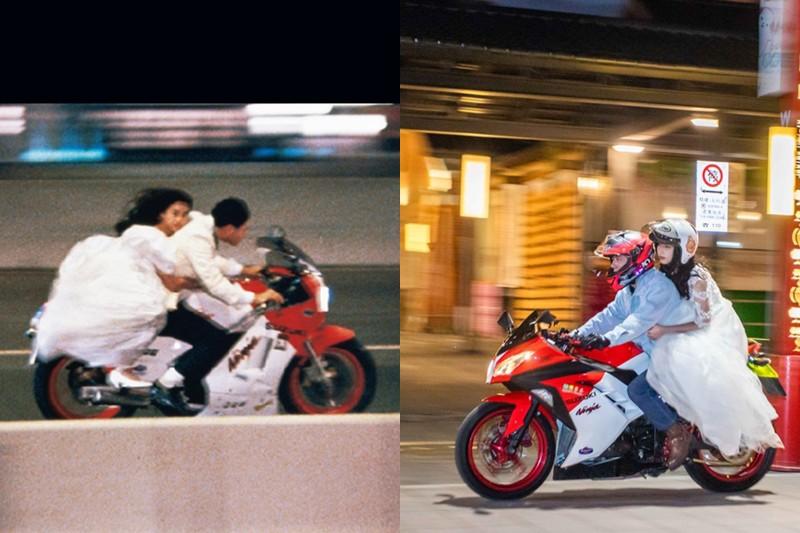 【車勢星聞】電影《天若有情》1/22紀念重映,一台復刻當年劉德華所騎的重機外型的車款,載著穿婚紗的模特兒,飛馳在台北街頭。(圖:華映娛樂提供)