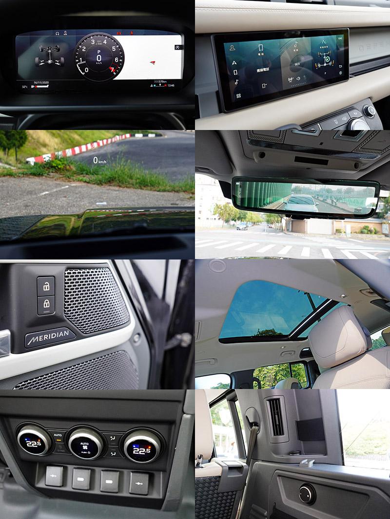 引進台灣的新Defender 110 P300 HSE配備豐富到有點驚人,包括:12.3吋數位儀錶、採用10吋高畫質中央觸控顯示幕的最新世代Pivi Pro資訊娛樂系統、三區恆溫空調、抬頭顯示器、電子數位後視鏡、全景天窗、Meridian 700W音響、第三排獨立空調風量調整等,洋洋灑灑,一應具全。