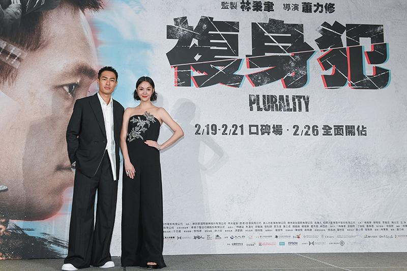 【車勢星聞】《複身犯》記者會男主角楊祐寧(左)、女主角張榕容(右)。(圖:牽猴子提供)