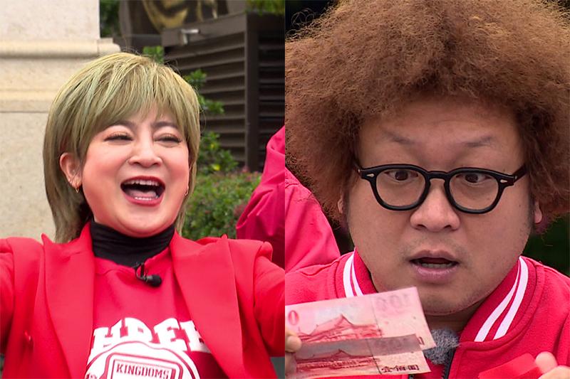 【車勢星聞】《綜藝3國智》王彩樺(左起)發送開工紅包,納豆演技華麗領兩百如拿兩萬。(圖:台視提供)