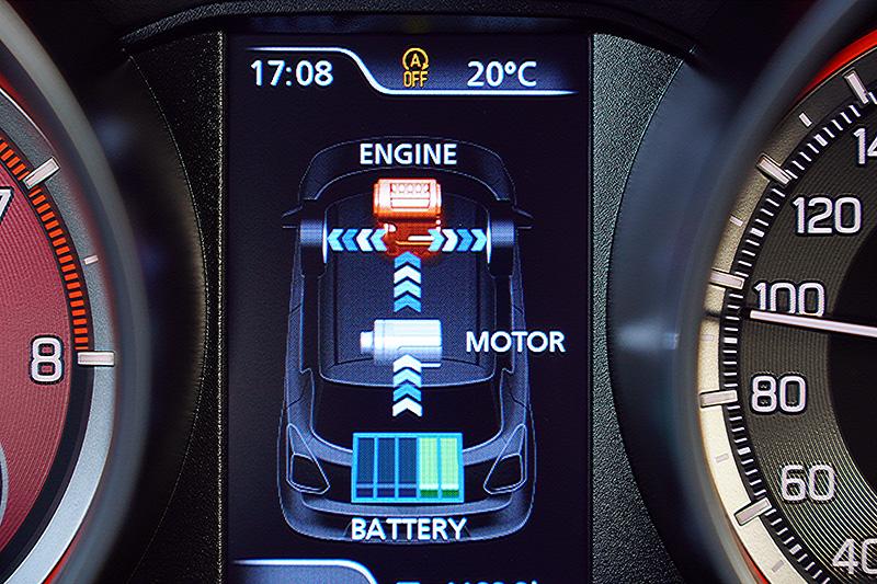 全新的輕油電混合動力系統,當鋰電池組電力足夠,全力衝刺時,電動馬達便會介入提升動力,所以性能數據上的差異,實際駕駛時的體感並不明顯。