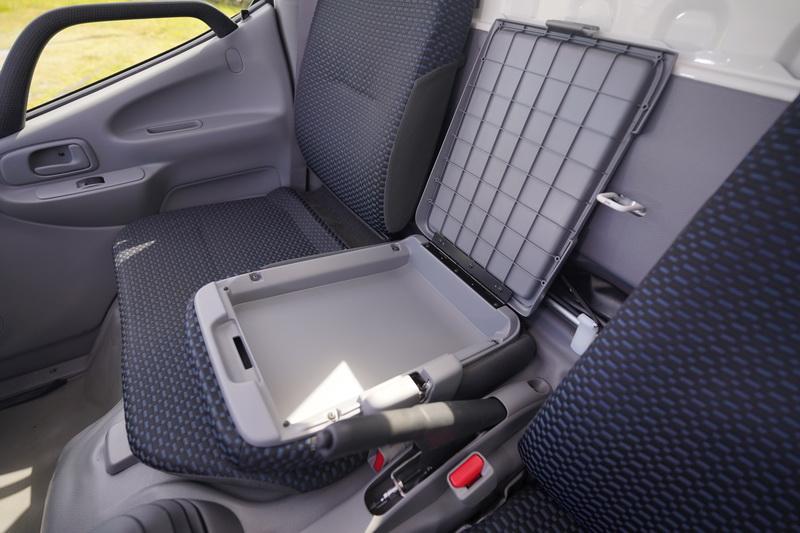 中央座椅椅背放倒後可做為扶手及置物箱功能