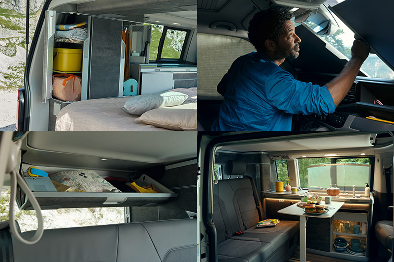 車內亦配有多功能「置衣櫃」、隱密性極高的「環艙遮光簾」、「三區獨立恆溫空調含駐車暖氣」等配備,駕駛艙座椅可以180度轉向與乘客艙的二人座椅對坐,與家人一起互動。
