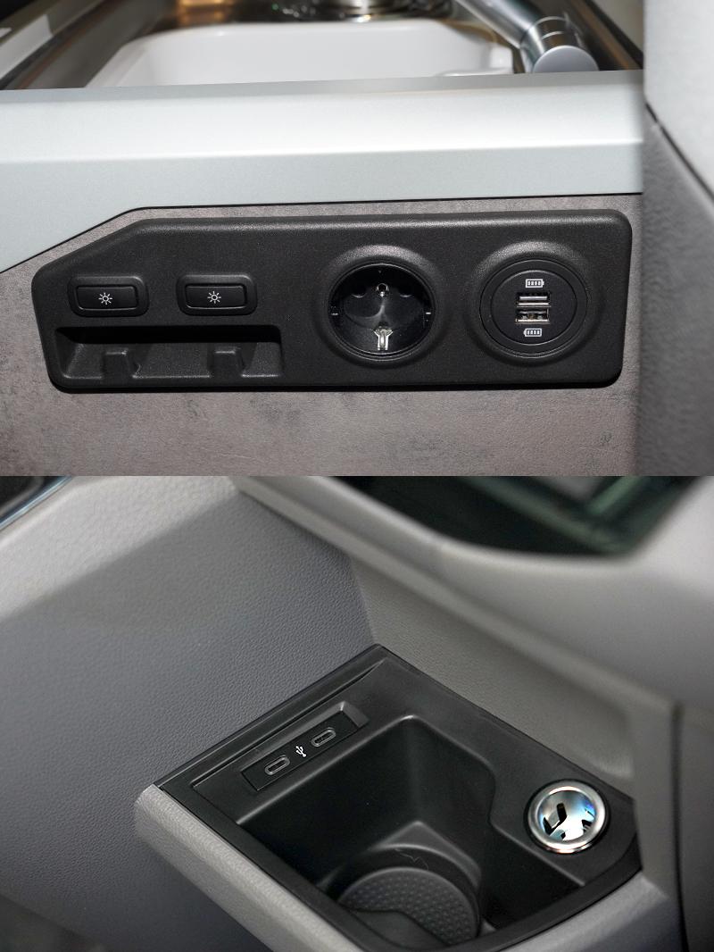 全車設有2組Type-C、2組傳統USB 充電插座,以及配置4組12V 120W 電源供應,並附設2組230V 歐規電源插座,提供車主便利快速充電。