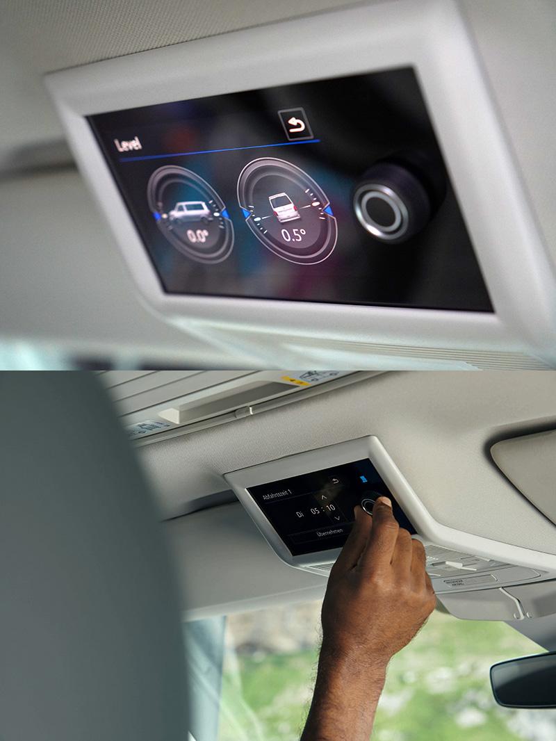全新T6.1 California Ocean 在位於前座防眩後視鏡上方新增「多功能液晶中央控制面板」,增設彩色螢幕和水平儀,輕輕觸控即可快速掌握車頂帳伸縮、居住空間燈光、車身水平的狀態以及駐車暖氣控制等便利操作。