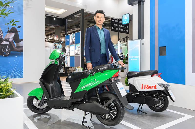 Kymco與全球共享巨擘Grab合作的電動機車以及台灣知名共享業者iRent的首度連袂展出。