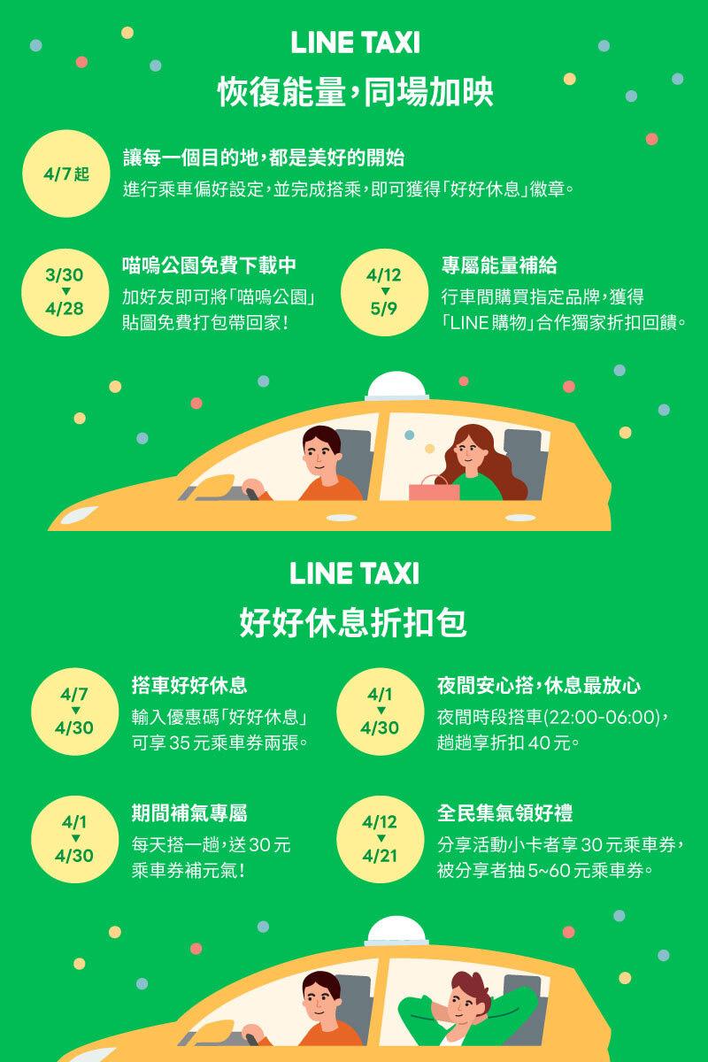 Line Taxi力挺疲憊乘客,祭出4月份「好好休息」折扣包,總共七大超值優惠輪番上陣。