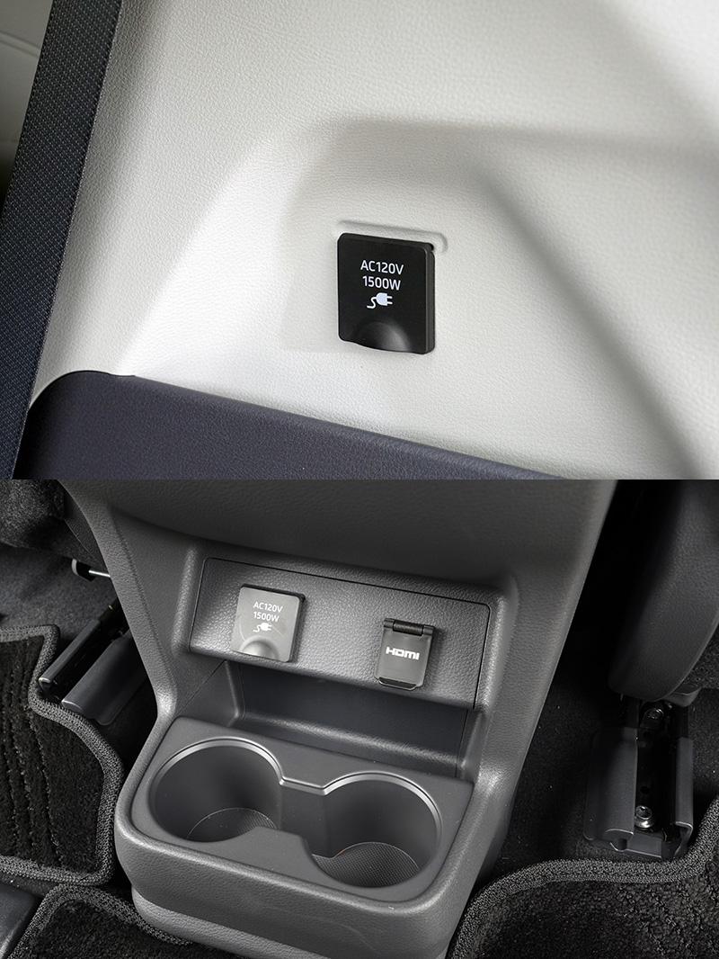 前座中央鞍座後方與行李廂側邊各設有一組AC120V的插座,可提供共1,500瓦的電源。