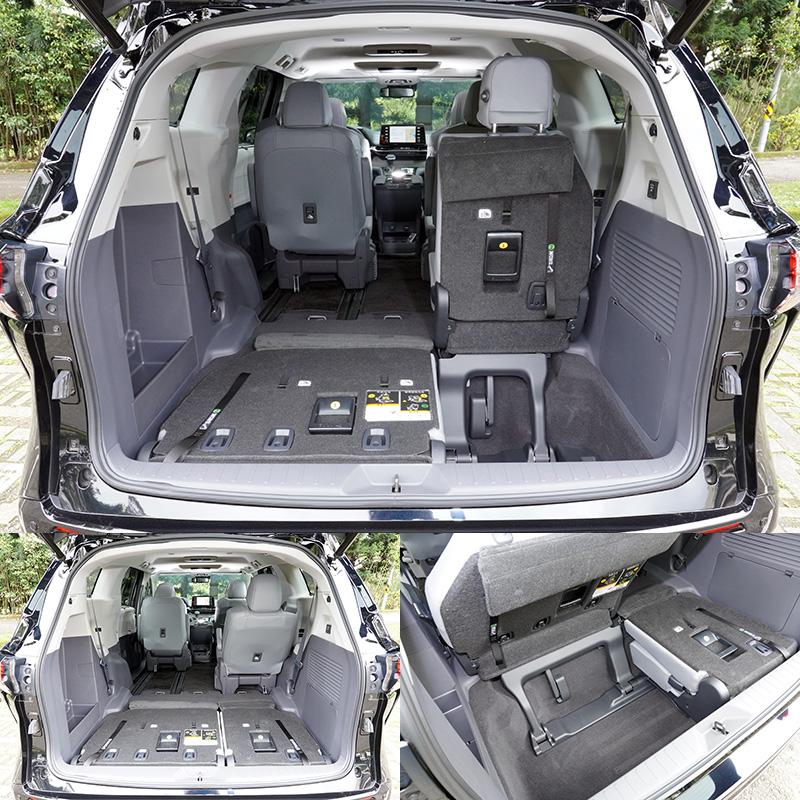 第三排座椅可向後完全收納,配合第二排座椅則採向前滑移,騰出置物空間。