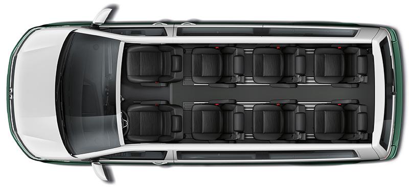 全新T6.1 Multivan 長軸版提供獨立8人座車型配置並採用2-2-2-2座椅設計。