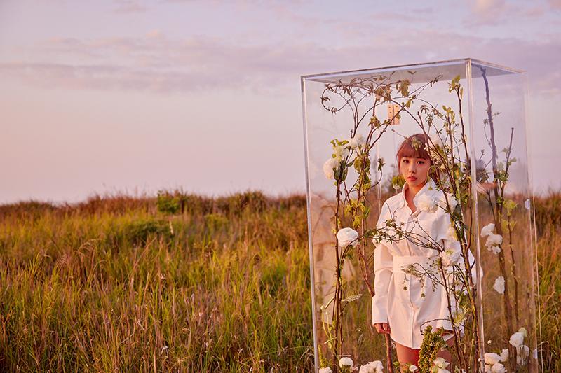 【車勢星聞】艾薇首張個人專輯《I》中<溫室狂花> MV首播,由導演一盞掌鏡,赴台中石頭公園、鐵砧山⼤草原拍攝。(圖:環球音樂提供)