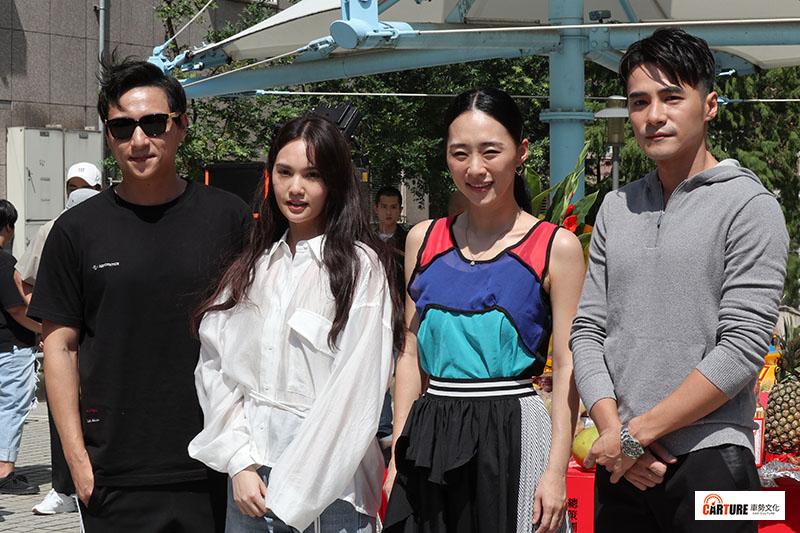 【車勢星聞】驚悚電影《靈語》主要演員(左起)鄭人碩、楊丞琳、吳可熙、是元介。