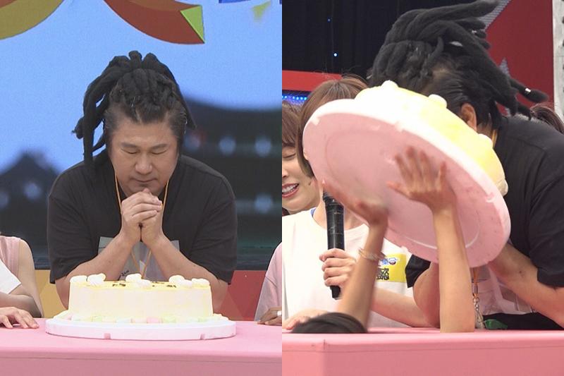 【車勢星聞】《綜藝大集合》為胡瓜提前慶生,被「特別的機關」籃籃用蛋糕砸臉。(圖:民視提供)