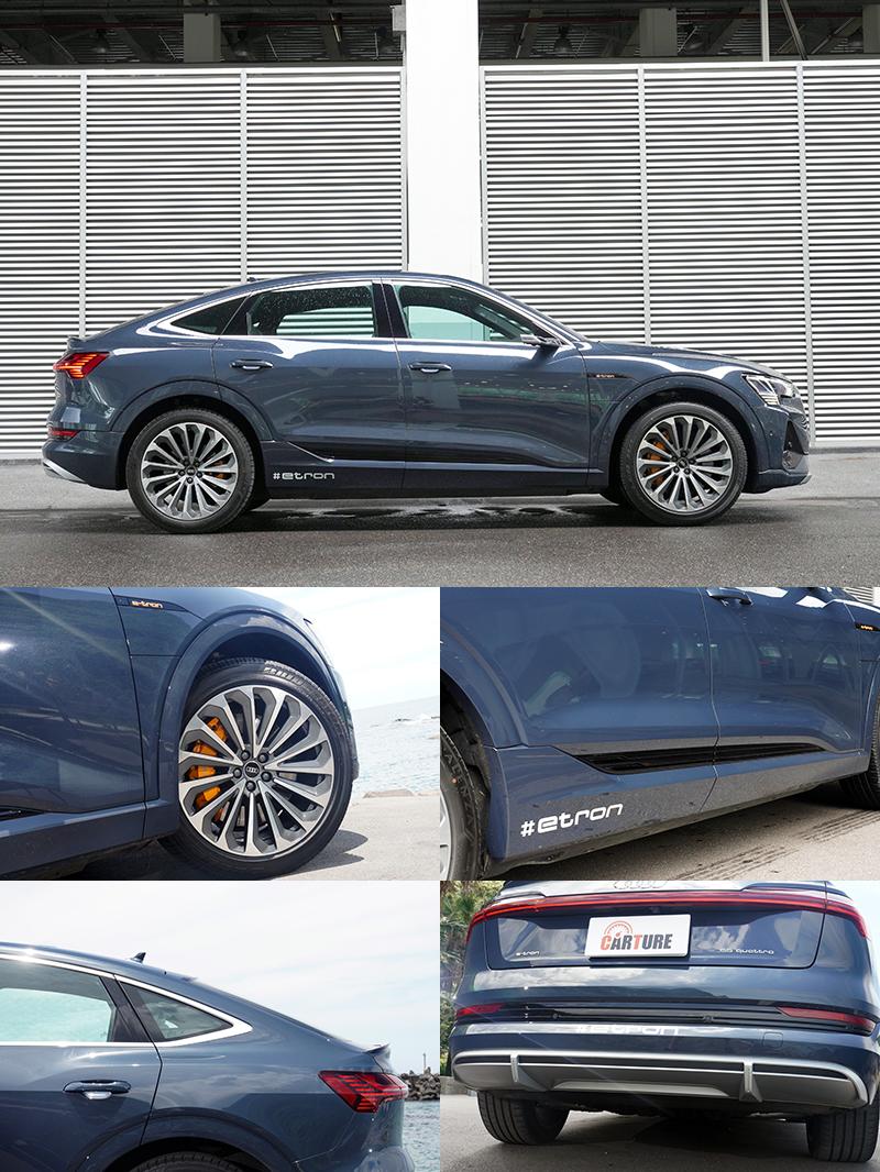 e-tron Sportback 55 quattro S line在外型上,線條簡潔順眼,沒有太過刻意浮誇的設計。