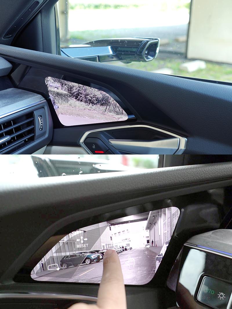 全數位虛擬後視鏡,只要稍微改變視線的水平高度即可,而且在盲點警示的輔助下,實際使用上會不會難以適應。