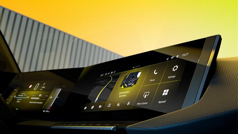 系統螢幕由雙螢幕組成一體式造型。